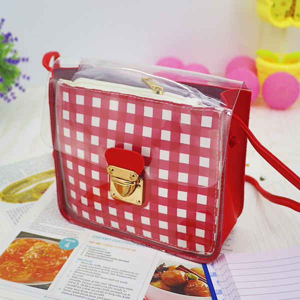 Transparent Buckled Closure Square Pattern Bags - Red