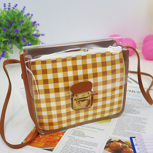 Transparent Buckled Closure Square Pattern Bags - Brown