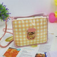 Transparent Buckled Closure Square Pattern Bags - Light Pink