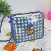 Transparent Buckled Closure Square Pattern Bags - Blue