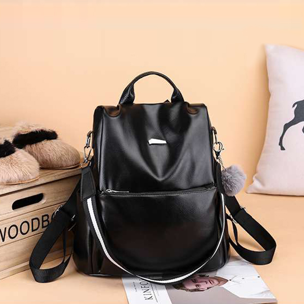 Shiny Synthetic Leather Zipper Backpacks - Black