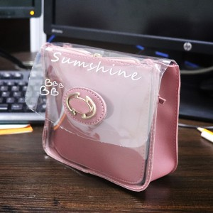 Magnetic Closure Plain Synthetic Jelly Bags - Pink