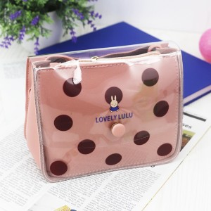 Polka Prints Transparent PU Jelly Bags - Pink