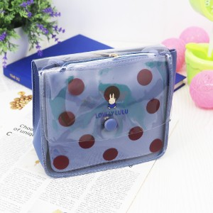 Polka Prints Transparent PU Jelly Bags - Blue