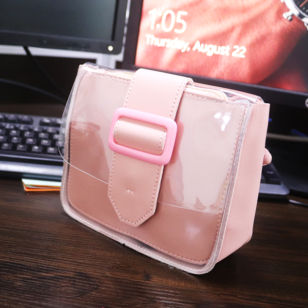 Buckle Magnetic Lock Jelly Messenger Bags - Pink