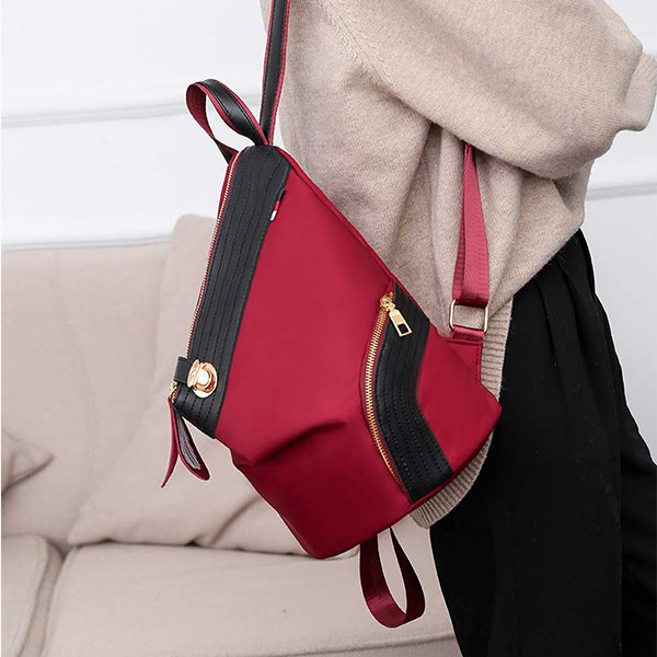 Canvas Front Press Lock Casual Backpack - Red