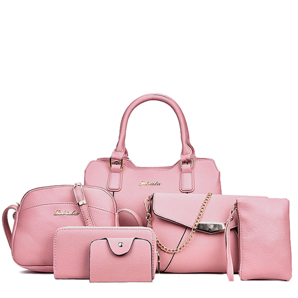 Six Bags Set For Women Versatile Casual Occasion Pink Color