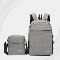 Two Pieces Canvas Traveller Backpack Set - Grey