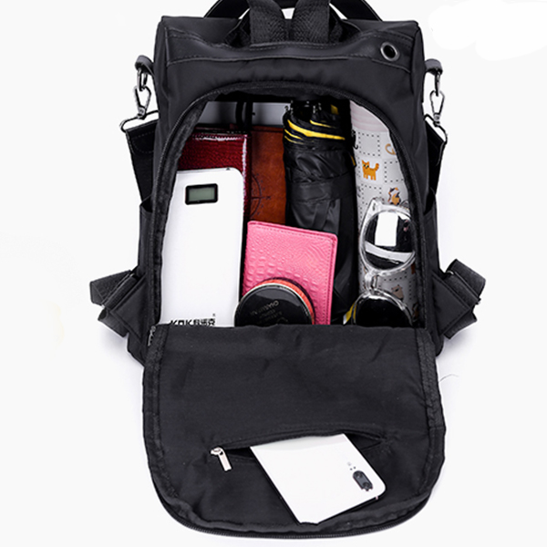 Zipper Closure Canvas Nylon Backpack - Black