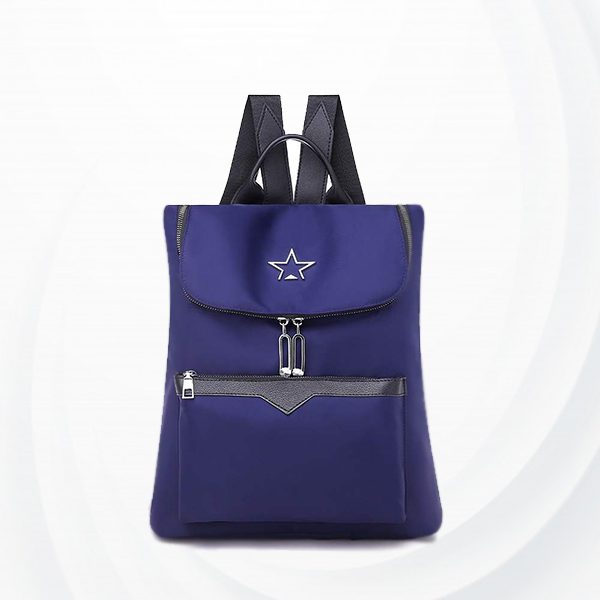 Nylon Shiny Zipper Formal Backpacks - Blue