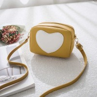 Synthetic leather Heart Shape Women Messenger Bags - Yellow