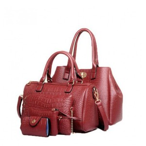 Five Pieces of crocodile classic European style handbags Red
