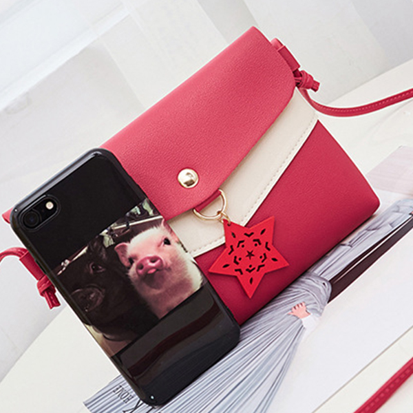 Star Hanging Contrast Messenger Bags - Red