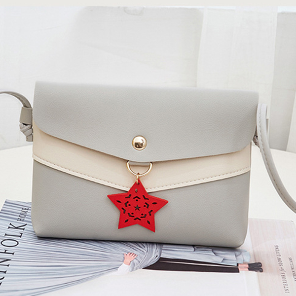 Star Hanging Contrast Messenger Bags - Gray