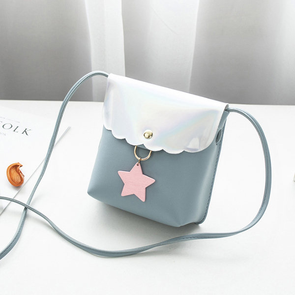 Holographic Star Patch Shoulder Bags - Blue