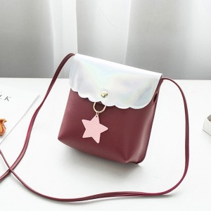 Holographic Star Patch Shoulder Bags - Burgundy
