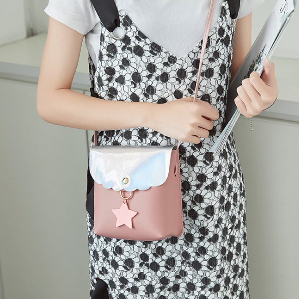 Holographic Star Patch Shoulder Bags - Grey