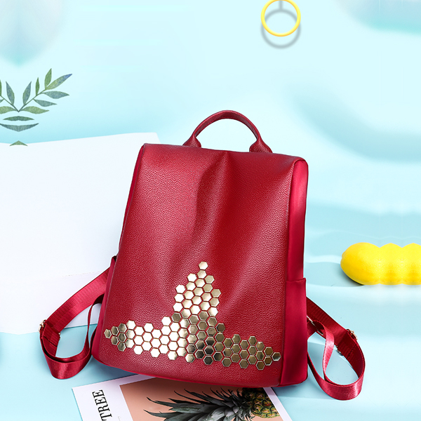 Decorated Nylon Synthetic Leather Backpacks - Red