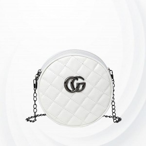 Zipper Closure Circle Shaped Messenger Bags - White
