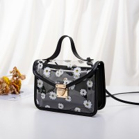 Floral Prints Press Lock Elegant Messenger Bags - Black