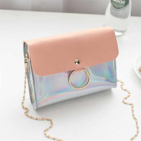 Ring Holographic Chain Strap Messenger Bags - Pink
