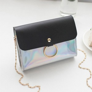 Ring Holographic Chain Strap Messenger Bags - Black