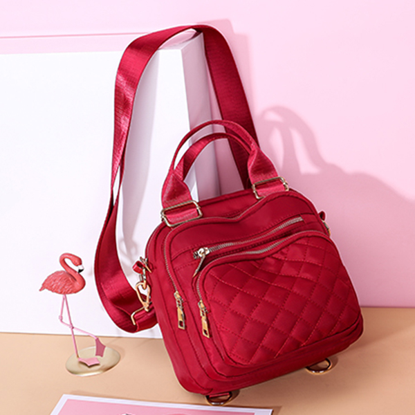Buckle Patchwork Zipper Casual Shoulder Bags - Red