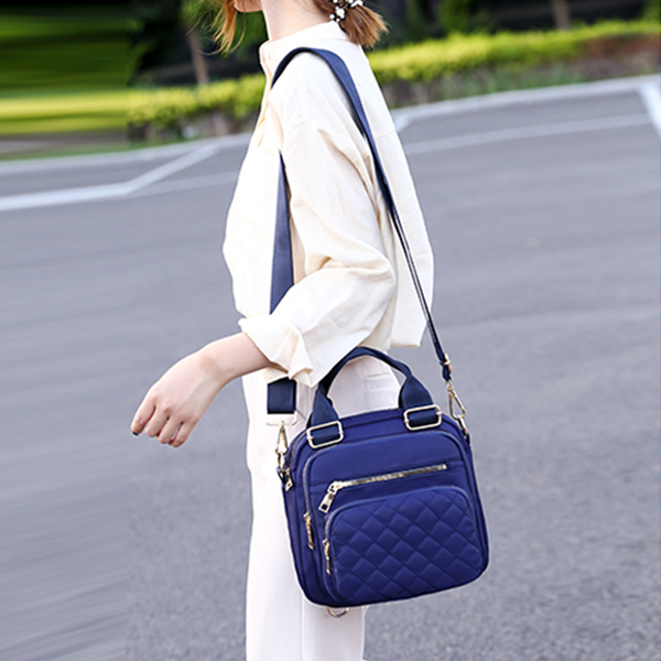 Buckle Patchwork Zipper Casual Shoulder Bags - Blue