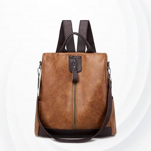 Anti-theft Pu Leather Student Shoulder Bag - Brown