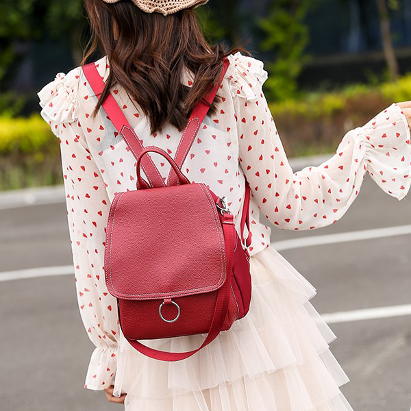 Synthetic Leather Mini Plain Casual Backpacks - Red