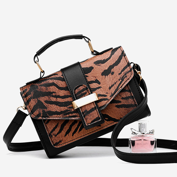 Tiger pattern Buckle Messenger Bag - Brown