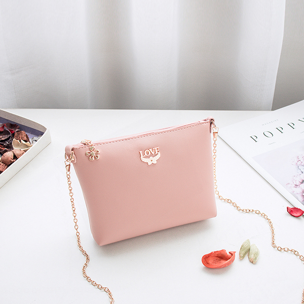 Love Patched Chain Strapped Messenger Bags - Pink