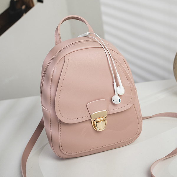 Press Lock Solid Color Mini Backpacks - Pink