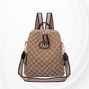 Printed Letter Nylon Canvas Casual Backpack - Brown