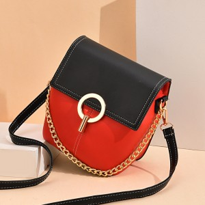 Dual Compartments Twist Lock Shoulder Bags - Red