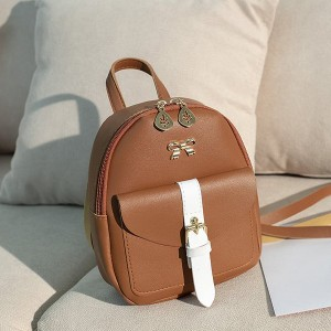 Leaf Zipper Buckle Pocket Mini Backpacks - Brown