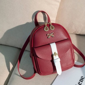 Leaf Zipper Buckle Pocket Mini Backpacks - Red
