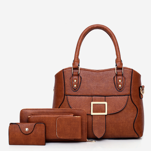 Textured Buckle Front Three Pieces Handbags Set - Brown
