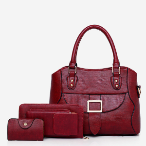Textured Buckle Front Three Pieces Handbags Set - Burgundy