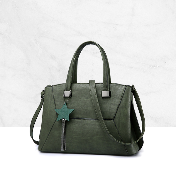 Hanging Star PU Leather Green Shoulder Bag