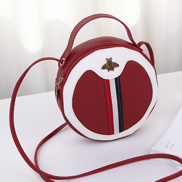 Bug Patched Round Shape Shoulder Bags - Red