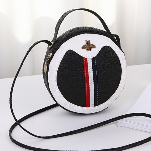 Bug Patched Round Shape Shoulder Bags - Black