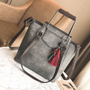PU Leather Wide Space Gray Shoulder Bag