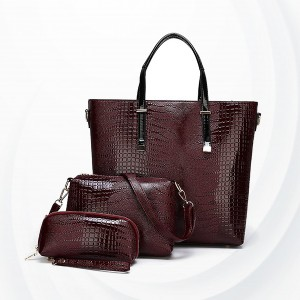 Snake Texture Three Piece Handbags Set - Red