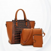 Crocodile Pattern Three Piece Handbags Set - Brown