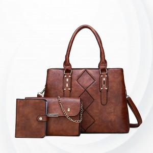 Square Designing Three Piece Casual Handbags Set - Brown