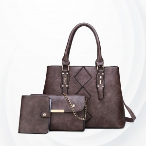 Square Designing Three Piece Casual Handbags Set - Purple