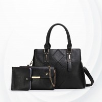 Square Designing Three Piece Casual Handbags Set - Black