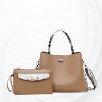 Snake Printed Contrast Two Pieces Handbags Set - Khaki