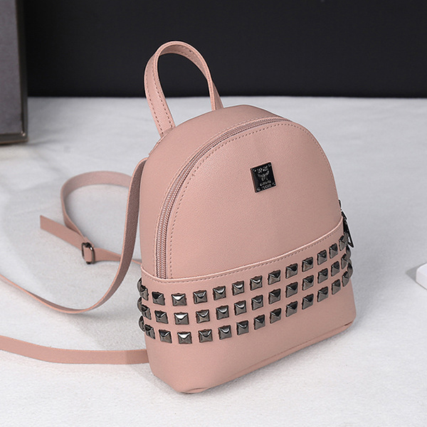 Rivets Decorated PU Leather Backpack - Pink